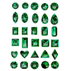 Set of realistic green emeralds vector