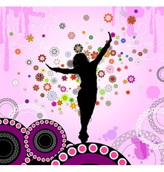 Silhouette of a girl dancing vector