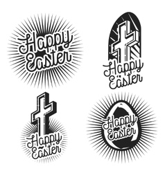 Vintage easter emblems vector image