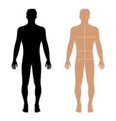Fashion man full length solid template figure silh vector