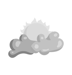 Clouds and sun icon black monochrome style vector