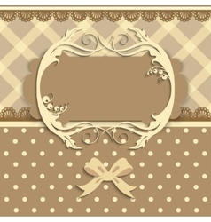Vintage card on fabric background vector