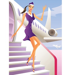 Stewardess welcome aboard in passenger aircraft vector image