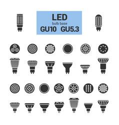 Led light gu10 bulbs silhouette icon set vector