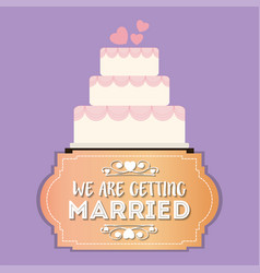 we are greeting married sweet cake vector image