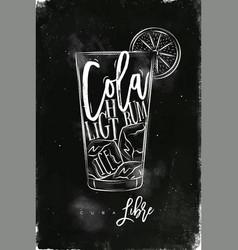 Cuba libre cocktail chalk vector