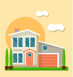 Modern living house vector