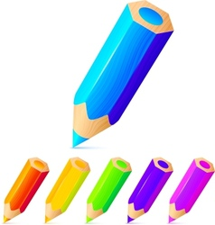 Bright colored pencils set vector image