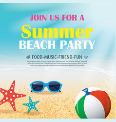 Summer beach party invitation poster with element vector