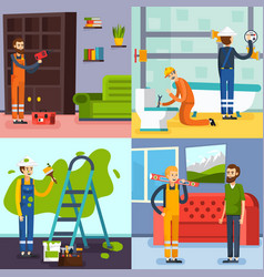 Renovation concept 4 flat icons vector