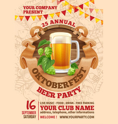 oktoberfest beer party template vector image