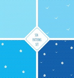 Seamless sea patterns set vector image