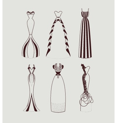 Floor length woman dresses vector