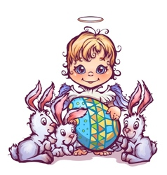 cartoon cute angel ant sweet rabbits vector image