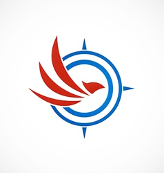 Eagle bird compass abstract logo vector