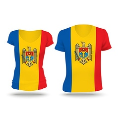 Flag shirt design of moldova vector