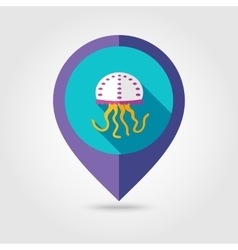 Jellyfish flat mapping pin icon with long shadow vector