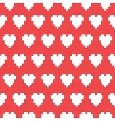Pixel art heart seamless pattern vector
