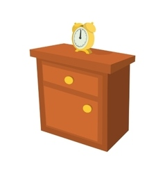 Nightstand with a clock cartoon icon vector