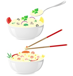 Italian and asian rice vector