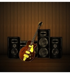 Jazz guitar and speakers on a wooden background vector