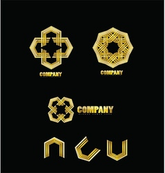 Abstract company gold logo icon vector image vector image