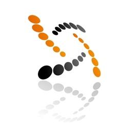 Abstract orange and grey symbol vector image