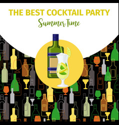 becherovka alcohol bottle cocktail bar banner vector image vector image
