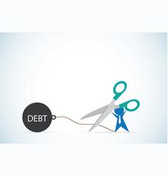 Businessman holding scissors to cut debt business vector