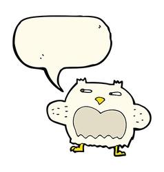 Cartoon suspicious owl with speech bubble vector