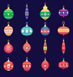 Christmas tree toys new year xmas balls set vector