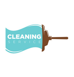 Cleaning service logo label with mop and water vector