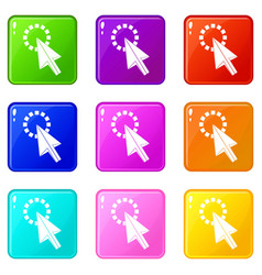 click icons 9 set vector image