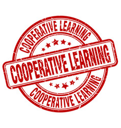 Cooperative learning red grunge stamp vector