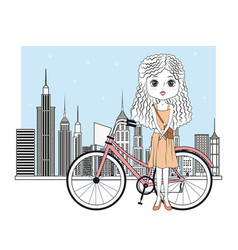 cute girl with bike cartoon vector image