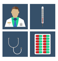 Doctor thermometer stergoscopemedical icon vector