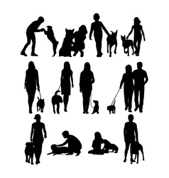 Dog and his master silhouettes vector
