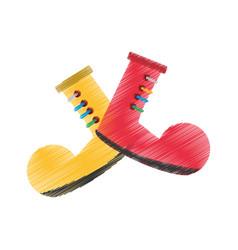 Drawing clown boots april fools vector