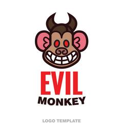 Evil monkey head logo template vector