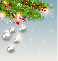 Green fir branch and white decorations vector