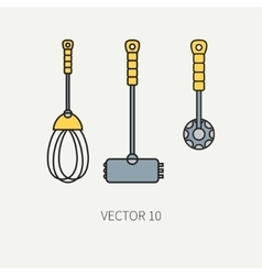 Line color kitchenware icons - hammer vector image vector image