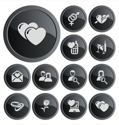 Love and dating buttons vector