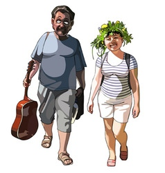 Man with guitar and smiling woman vector