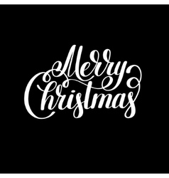 merry christmas black and white handwritten vector image vector image