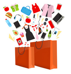 orange paper shopping bag with purchase vector image vector image