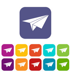 paper plane icons set vector image