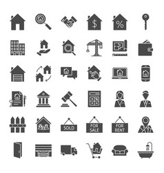 real estate solid web icons vector image
