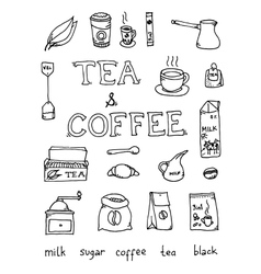 Set of coffee and tea vector image vector image
