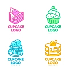 Set of cupcake logos for bakery coffee shop cake vector image
