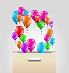 shopping paper bag and balloons vector image vector image